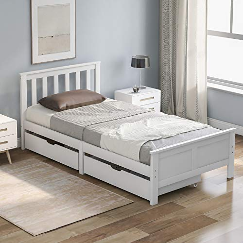 jeerbly 3ft Single Bed Frame, Wooden Solid Frame White Pine Storage Bed with Drawers Bed Furniture Frame for Adults, Kids, Teenagers Single Bed (White 190x90cm)