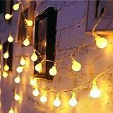 EleganBello, Catena Luminosa, Striscia LED, 1,8 cm Globo Smerigliato, Luce Bianca Calda, 1...