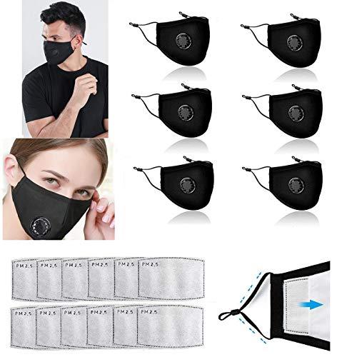 Freefa 6pezzi Bandane facciali lavabili in Italia regolabili con valvola respiratoria e 12pezzi filtri a carbone attivo a cinque strati sostituibili Haze Dust Face Health per adulti