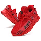 Fujeak Boys Running Walking Tennis Fashion Casual Toddler School Outdoor Gym Comfortable Athletic Sport Shoes, Red, 12 UK Child