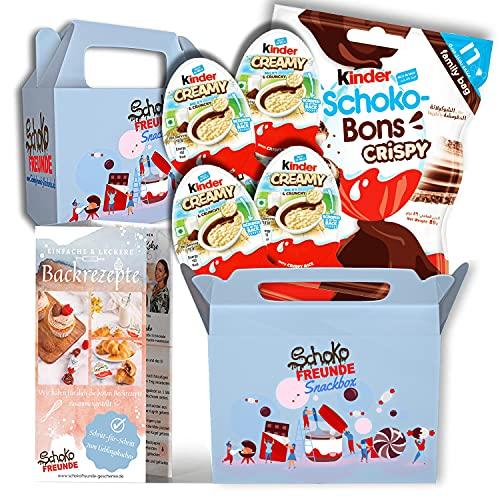 SchokoFreunde Geschenke® Snack-Box inkl. Kinder Creamy milky & crunchy und Schoko Bons Crispy, Country zum Löffeln, Knusper Spaß für jeden Schokoladenliebhaber, Überraschungspaket HALAL