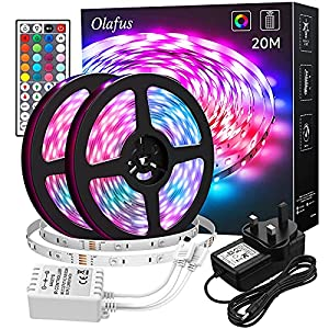 Olafus LED Strip Lights 20M with Remote 44 Keys, 5050 RGB LED Lights Strip, 30 LEDs/M Dimmable Color Changing Lighting Strip for Bedroom Party Festival (2x32.8FT)