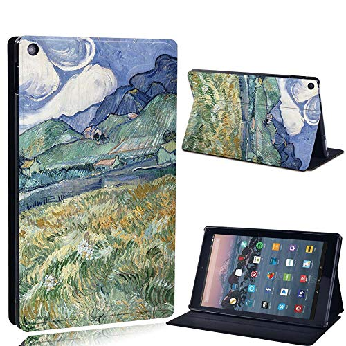 FINDING CASE For Amazon re HD 10 (5th 7th 9th Gen) Tablet - Printed PU Flip Leather Smart Lightweight Shell Stand Cover Case for re HD 10 (5th 7th 9th Gen) (mountain paint)