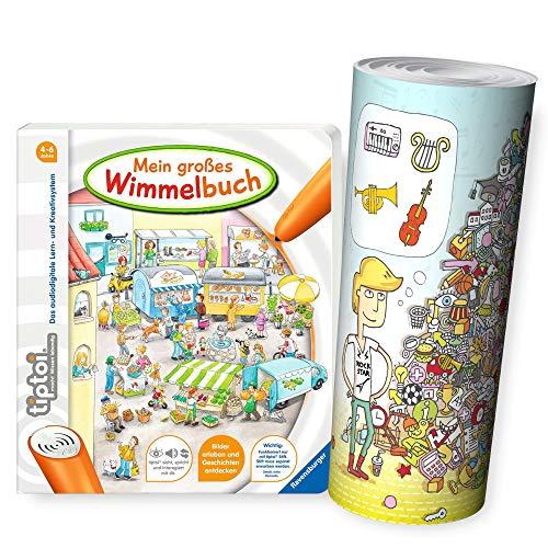 tiptoi Ravensburger Buch 4-6 | Mein großes Wimmelbuch + Kinder Wimmel Such-Bild Poster
