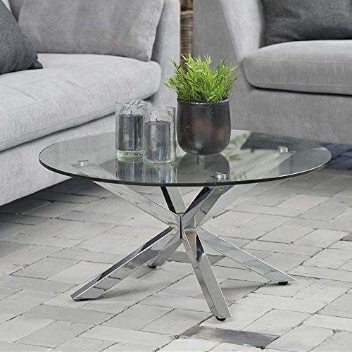 lounge-zone Design Tavolino da salotto tavolo di vetro stella, vetro, Cromo, 82cm 12830