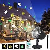 IREGRO Luces de Proyector Navidad LED Luz de Proyección 4 motivos sobresalientes con control remoto,para yard y salón, copo de nieve, campana pequeña, alce y árbol de Navidad