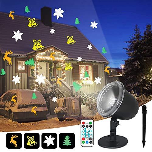 IREGRO LED Projektor Außen, Deko Projektor Innen Außen, mit Fernbedienung und Timer, 4 Muster, 18 Verschiedene Projektionseffekte, Wasserdicht IP65