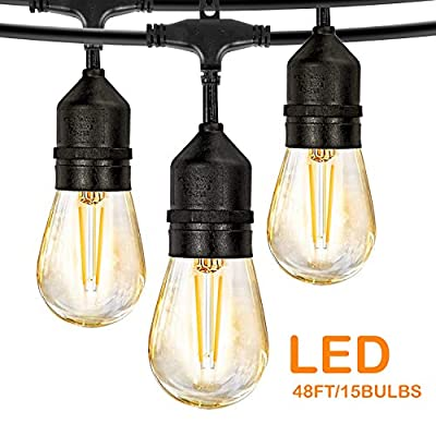 LED Outdoor String Lights, 48FT with 2W Dimmable Edison Vintage Plastic Bulbs and Commercial Great Weatherproof Strand - UL Listed Heavy-Duty Decorative LED Café Patio Light, Porch Market Light