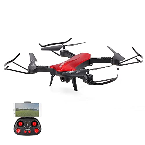 POBO RC Drone Foldable WiFi FPV VR Quadcopter with 2MP HD Camera 2.4Ghz 6 Axis Gyro 4CH Remote Control Helicopter (Red)