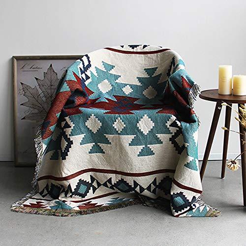 GRENSS Kelim Teppich für Sofa Wohnzimmer Schlafzimmer Teppich Garn gefärbt 130 * 160 cm Tagesdecke Wandteppich