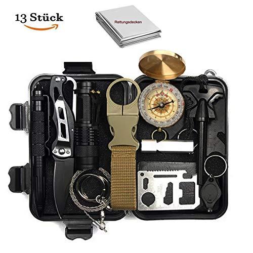 N.MAX Survival Kit 13 in 1, Rettungshilfe professionelles Survival kit mit Klappmesser, Kompass, Taschenlampe, Whistle, Tactical Pen, Rettungsdecken usw. für Camping, Outdoor, Urlaub, Jagd, Wandern