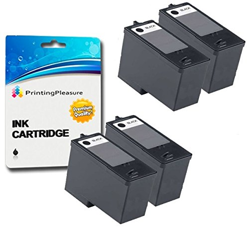 4 BLACK Remanufactured Printer Ink Cartridges for Dell All-In-One 966, 968 | Dell Series 7 (CH883)