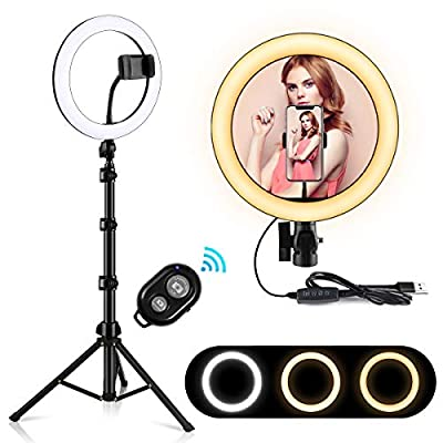 "10.2"" Ring Light,LED Selfie Ring Light with Stand and Phone Holder(16.93'' - 64.57''),3 Light Modes,10 Brightness,Remote Control,Dimmable Fill Ringlight for Live Stream/Makeup/YouTube/Photography"