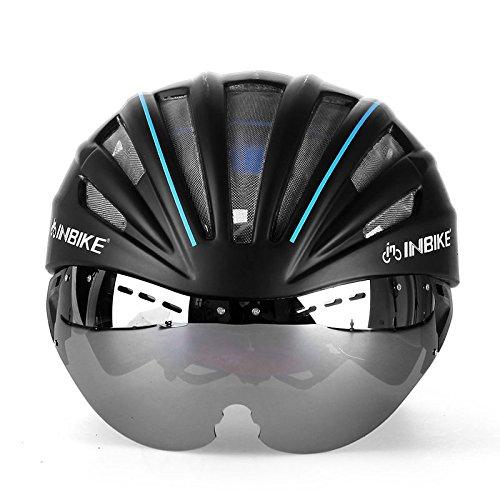 INBIKE Casco de ciclismo con gafas Lnes Integralmente moldeado Casco de bicicleta Cascos de bicicleta 57-62 cm Circunferencia de la cabeza 4 colores (azul)