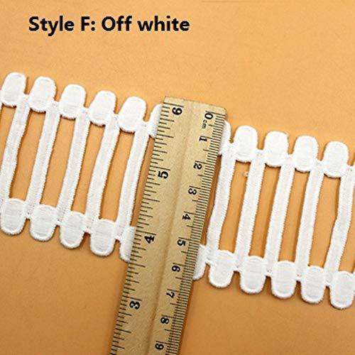 5 meter wit zwart katoen uitgehold katoen geborduurd kant Trim lint stof handgemaakte naaibenodigdheden Craft Gift decoratief, F wit 6.5cm