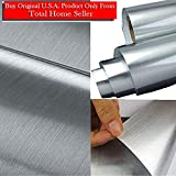 TOTAL HOME :Thick Metal Look Stainless Steel Adhesive Metallic Shelf Liner Contact Paper Vinyl Film Backsplash Cover (24 X 54 Inch)