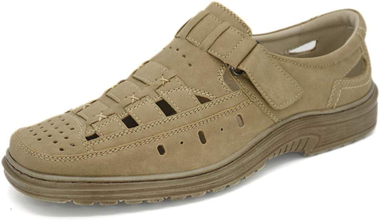 ZHRUI Men Sandal Fashion shoes Light Beach shoes Lightweight Breathable Flats (color   Beige, Size   7=41 EU)