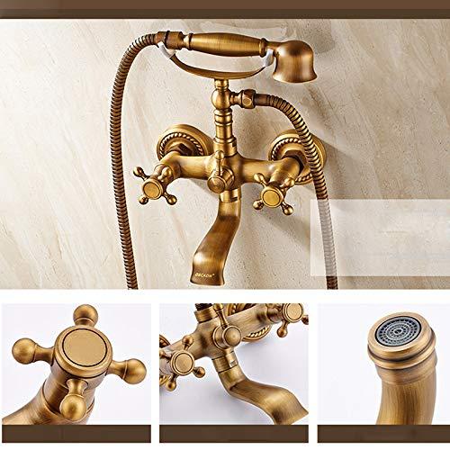WEILINW Rubinetti per miscelatore per vasca da bagno con piedini a specchio in ottone antico