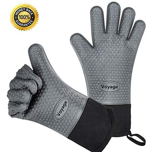 VOYAGE Premium Ofenhandschuhe (2er Set) bis zu 350 °C - Silikon Extrem Hitzebeständige Grillhandschuhe BBQ Handschuhe zum Kochen, Barbecue Extra lange Topfhandschuhe für extreme Sicherheit (Grau)