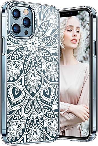 Carcasa para iPhone 12 Pro Max transparente, antigolpes, silicona transparente para iPhone 12 Pro Max Funda ultrafina diseño de flores con purpurina original para mujeres y hombres