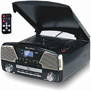 TechPlay ODC35 3 Speed Turntable Programmable MP3 CD Player, USB/SD, Radio & Remote Control (Black)