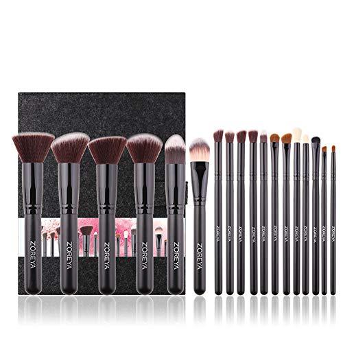 18 pcs Cosmétique Brosses Premium Synthétique Kabuki Foundation Poudre Pour Le Visage Blush Fard À Paupières Professionnel Maquillage Brosses Kit-black