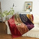 coperta cotone,Asciugamano per divano in ciniglia nordica, copriletto copriletto in cotone stile etnico universale - rosso