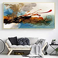 ポスターとプリントモダンな抽象的な壁アートキャンバス絵画リビングルームの寝室の家の装飾のためのカラフルなリズムの写真50x100cmフレームレス