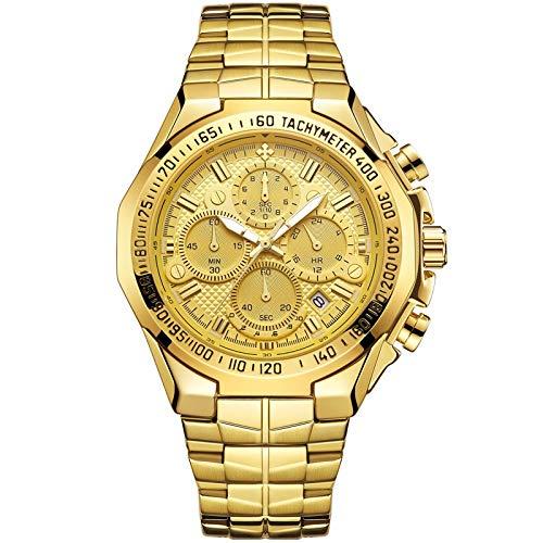CXJC Reloj de negocios para hombres con correa de acero inoxidable + espejo de reloj de mineral mejorado, reloj de mecánico multifunción de calendario luminoso impermeable (Color : UN)