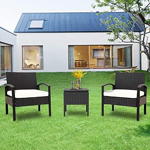 LIFE CARVER Balkonmöbel Set 2 Personen Polyrattan 1 Tisch 2 Sessel Wetterfeste Gartenmöbel Set–für Garten, Balkon & Terrasse–inkl. Sitzkissen–Schwarz