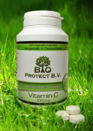 Vitamin C 1000mg - 120 Tabletten -Hochdosiert - Zeitverzögert/Time release mit Hagebutte und Bio Flavonoide - Bio Protect