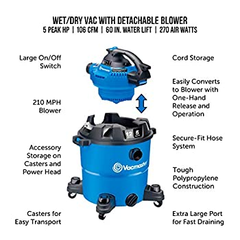 Vacmaster VBV1210, 12-Gallon 5 Peak HP Wet/Dry Shop Vacuum with Detachable Blower, Blue<br><strong><br>                             Price</strong>: $87.62           <strong>Rating</strong>: 4.6            <strong>Review</strong>: 4089