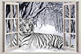 Pegatinas de pared Snow Tiger3D Window View Decal WALL STICKER White Animals