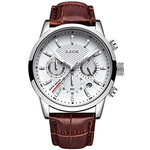 LIGE Uhr Herren Lederuhr Sport Wasserdicht Analoger Quarz Edelstahl Klassische Business Casual Armband Uhr