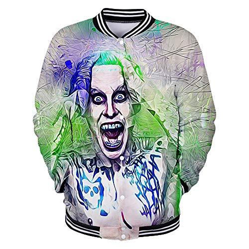 FONLONLON HaHa Joker Pullover Jacke gedruckt Langarmshirts Mode Sweatshirt lässig Baseball-Stil Jacke Unisex (Color : A06, Size : S)