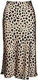 Leopard Skirt for Women Midi Length High Waist Silk Satin Elasticized Cheetah Skirts L