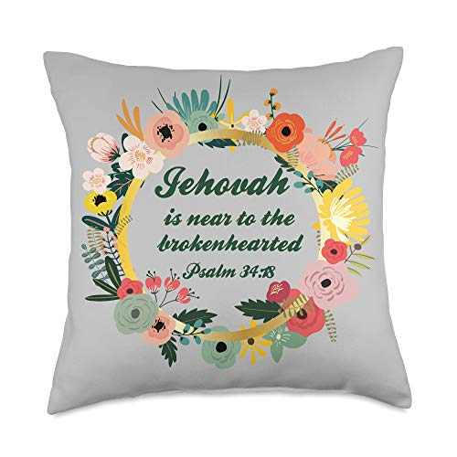 Jehovah Witnesses Special Gifts Jehovah near to the brokenhearted Comfort Love Friend Gift Throw Pillow, 18x18, Multicolor