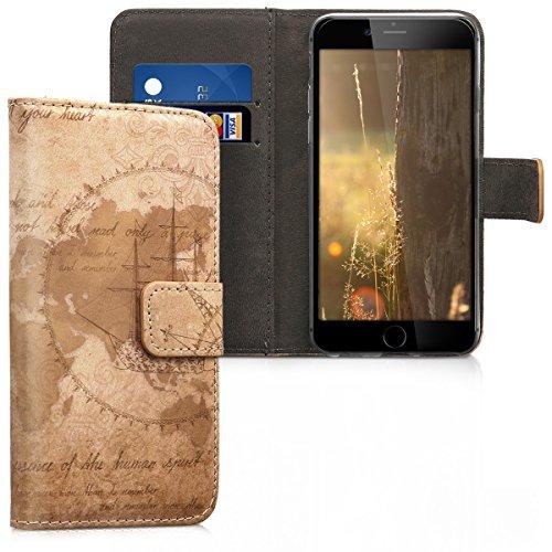 kwmobile Custodia Compatibile con Apple iPhone 6 / 6S - Cover Magnetica Portafoglio con Stand in Simil Pelle - Case Porta Carte - Mappamondo Vintage Marrone/Marrone Chiaro