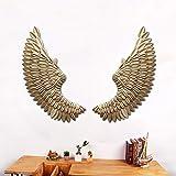DiLiBee - Figura Decorativa para Pared (38 x 100 cm), diseño de alas de ángel, Color Dorado