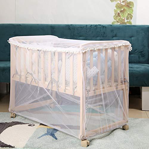 HB.YE - Zanzariera per lettino da bambino, trasparente, con chiusura lampo, rete anti-zanzare, per letto 70 x 140 cm