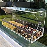 Window Bird Feeder with Strong Suction Cups - Innovative Anti-Yellowing Acrylic Technology - Extra Large 4 Cups Lock in Place Seed Tray with Maximum Drainage Holes