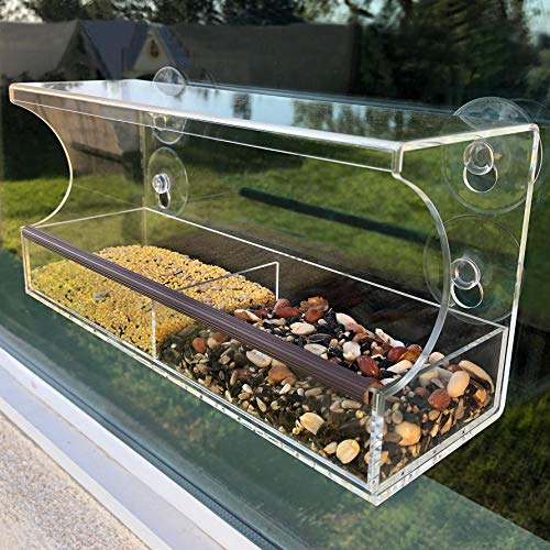 Window Bird Feeder - Strong Suction Cups - Clear Weatherproof Acrylic, Extra Large Lock in Place Seed Tray, Drain Holes - Wild/Bluebird/Finch/Cardinal/Bird Feeder Kit