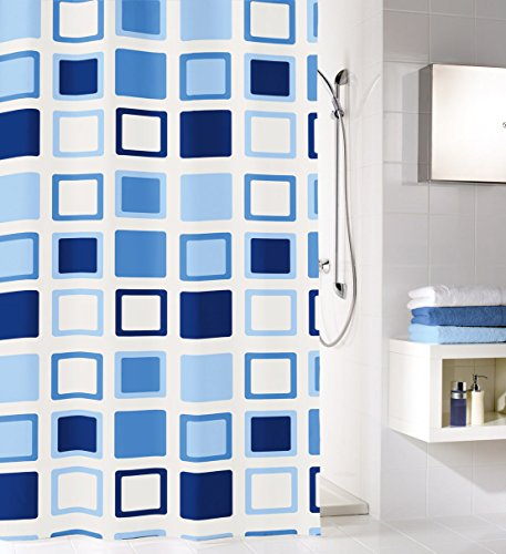 Kleine Wolke textilgesellschaft Duschvorhang, Synthetikfasern, blau azure, 200x 120cm