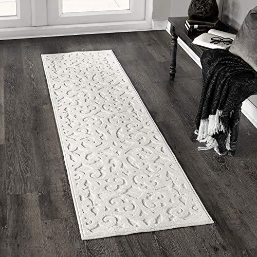 Orian Sculpted 4704 Indoor/Outdoor High-Low Debonair Natural Runner Rug, 1'11' x 7'6', Ivory
