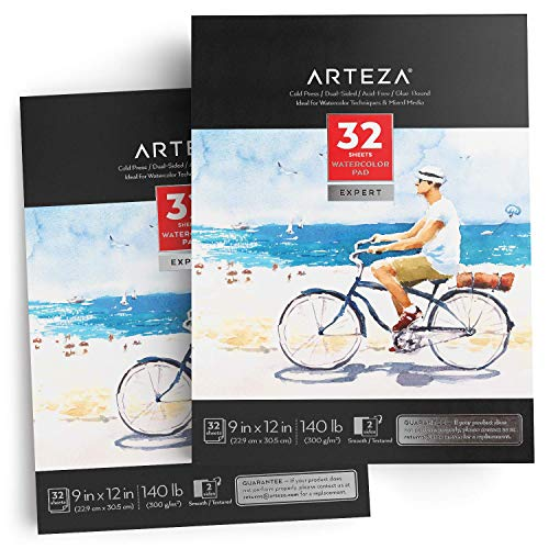 Arteza 9x12' Expert Watercolor Pad, Pack of 2, 64 Sheets (140lb/300gsm), Cold Pressed, Acid Free Paper, 32 Sheets Each, Art Supplies for Watercolor Techniques and Mixed Media