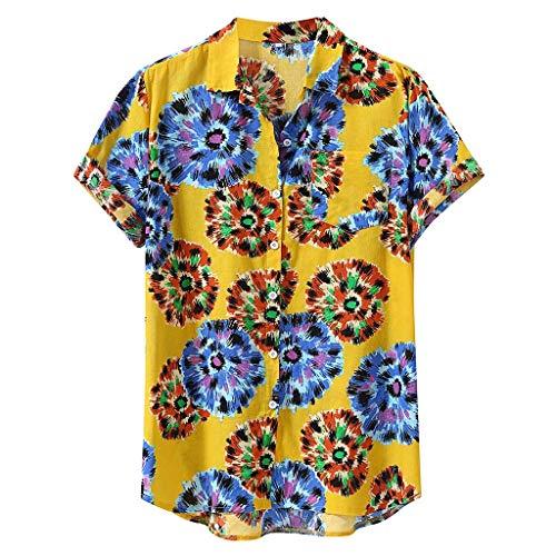 Wtouhe Herren Top Sommer HeißEr Front-Tasche 3D Druck Blumen Hemd Angenehm Zu Tragen Stoff Gute QualitäT Hawaiianischer Stil Strand Freund Hemd Ohne Kragen
