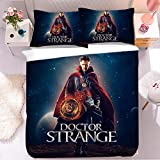 Doctor Strange Bettwäsche Set-Bettbezug-2 Kissenbezug,Marvel,The Avengers,3D-Digitaldruck-Mikrofaser bettwäsche,Pflegeleichte Bettwäsche (A01, Single 135x200cm+(50cm×75cm)×2)