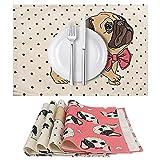 Yideng tovagliette, Antiscivolo Isolamento Termico Cotone Lino Table Mats Serie di Pattern 4 Animali di Stampa del Fumetto di Natale tovagliette Lavabile rettangolo di Tessuto (43 x 33 Centimetri)