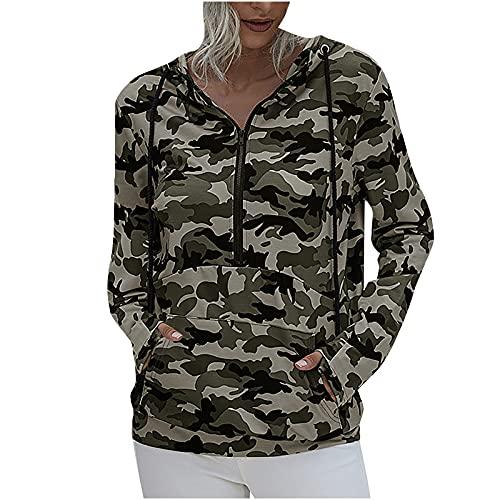 Wave166 Chaqueta de mujer con capucha de camuflaje, informal, con cremallera y bolsillo, ropa exterior para otoño, cordón, sudadera deportiva, verde, L