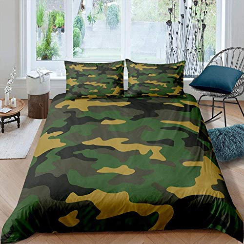 Erbaeo Printed Duvet Cover Set - Army Green Camouflage Abstract Geometry - 4 Pcs With Zipper Closure + With 1 Fitted Sheet And 2 Pillows - Ultra Soft Hypoallergenic Microfiber Quilt Cover Sets Super
